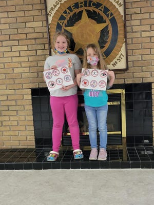 Keighlyn Schulz and Kinzley Schulz recently received patches from the American Legion Auxiliary.  Pictured, from left: Keighlyn Schulz and Kinzley Schulz.