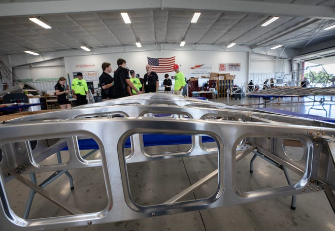 An aircraft wing structure sits on a table  that will be part of an aircraft members of the Lakeland Aero Club are building at the Lakeland Aero Club hangar during the 47th annual Sun 'n Fun Aerospace Expo at Lakeland Linder Airport in Lakeland Fl. Tuesday April 13 2021.  Lakeland Aero Club students are working to build an airplane from start to finish during the 2021 Sun 'n Fun Aerospace Expo. ERNST PETERS/ THE LEDGER