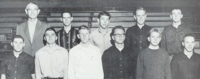 Pictures of the Past is from the 1964 Lincoln Community High School yearbook. It shows students participating the building trades program. From left in front are: T. Cecil, R. Bacon, T. Fitzpatrick, S. Simpson, B. Webster and D. Newhouse. Second row: Advisor Walter Alde, B. Shoemaker, B. Logan, Gary Sablotny and J. Barry.