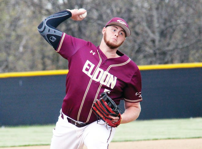 Eldon senior Fisher Snelling fires a pitch towards home plate in the first inning of a game at Osage on April 12 in Osage Beach. Snelling pitched a complete game and struck out eight in a win over the Indians.