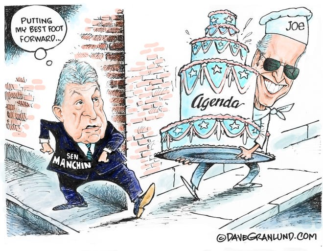 Dave Granlund cartoon on Joe Manchin tripping up Biden's agenda