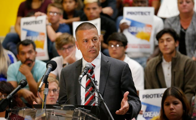 Chris Brewster speaks during a news conference at Santa Fe South Charter Schools in Oklahoma City on Sept. 5, 2017. Brewster said he was blindsided Monday night when Oklahoma City Public Schools called for an investigative audit of Santa Fe South.