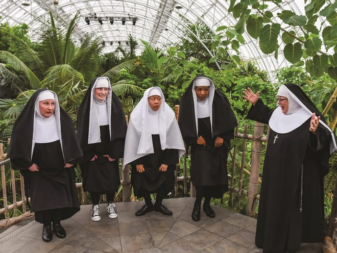 """From left, Jenny Rader, Brooke Melton, Ashley Mandanas, Cheyanne Marie and Brenda Williams star in Lyric Theatre's production of """"Nunsense,"""" playing April 21-May 9 on the Myriad Botanical Gardens' Water Stage."""