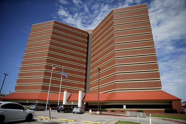 The Oklahoma  County jail is just west of downtown Oklahoma City.