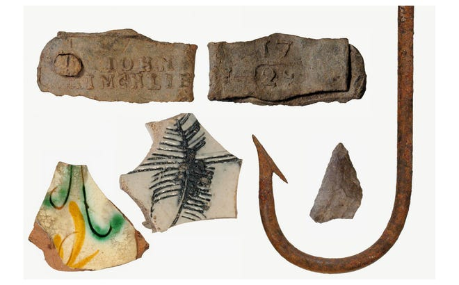 "Artifacts unearthed at Smuttynose Island including a ""bale seal' (top), fragments of imported pottery, a Native American projectiles point and a modern view of a large fish hook used to catch giant cod that populated this region in the 1600s."