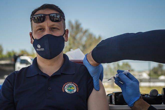 Palm Beach County Mayor Dave Kerner received his first dose of the Moderna COVID-19 vaccine at the South Florida Fairgrounds vaccination site in unincorporated Palm Beach County, Fla., on Tuesday, April 13, 2021.