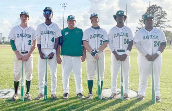 The Plaquemine High baseball seniors were honored during last week's game against Liberty. Pictured from left are Drake Brigalia, Troy McGinnis, Conner Allen, Carvin Young and Jordan Anderson.