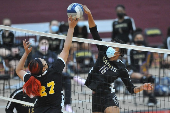 St. Raphael's Amaya Dowdy starred on the basketball court for the Saints, but also played an important role in their volleyball championship.