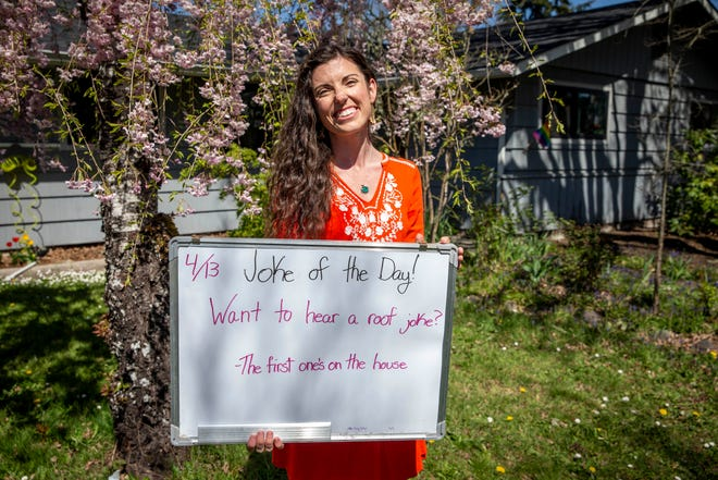 Amy Jordan, 32, started the Joke of the Day on March 22, 2020, in hopes of connecting with her south Eugene neighborhood. She and her fiancé moved just a few months before the pandemic started from rural Tennessee.