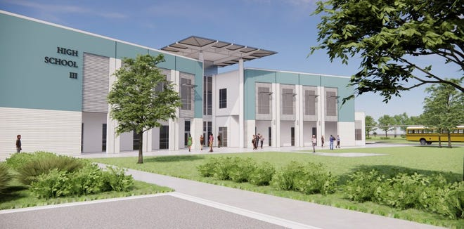 """A rendering of High School """"III,"""" slated for opening in the 2022-23 school year, which is under construction in the Twin Creeks area of St. Johns County."""