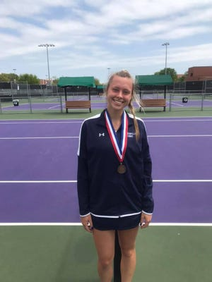 Stephenville High School's Bailey Kemmerer finished third in singles during Tuesday's district tennis meet held at Tarleton State University.