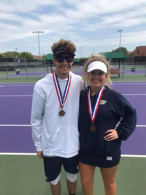 Stephenville High School's Dylan Jones and Shyla Smith finished third in mixed doubles during Tuesday's district tennis meet held at Tarleton State University.