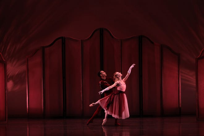 """Victoria Hulland and Ricardo Rhodes, frequent partners since they joined The Sarasota Ballet, perform together in """"Valses Nobles and Sentimentales"""" in the company's Digital Program 6."""