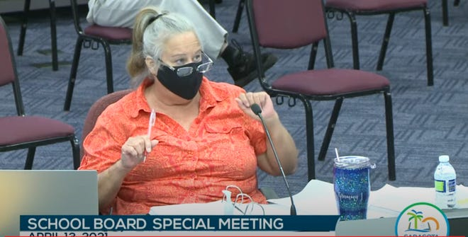 Joy Deal, a former attendance clerk at Sarasota High School, argued her case before the Sarasota County School Board on Tuesday.