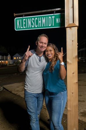 """Brian and Mika Kleinschmidt, the Tampa Bay home builders who host """"100 Day Dream Home,"""" were judged the winners of the second season of HGTV's """"Rock the Block"""" and had a street named for them outside the new house they renovated."""