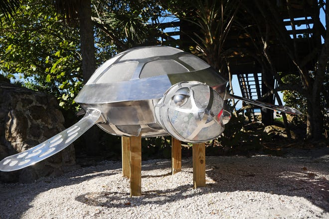 """Sarasota County and the Gulf Coast Community Foundation will unveil an educational turtle sculpture Saturday at Siesta Beach. The sculpture is similar to """"Speckles,"""" a sculpture installed at Venice Beach earlier this year, as part of the Gulf Coast Community Foundation's 25th anniversary celebration. It was built by the Asolo Repertory Theatre Scenic Studio."""