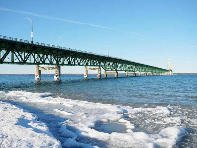 A view of the Straits of Mackinac, looking northward from Mackinaw City.