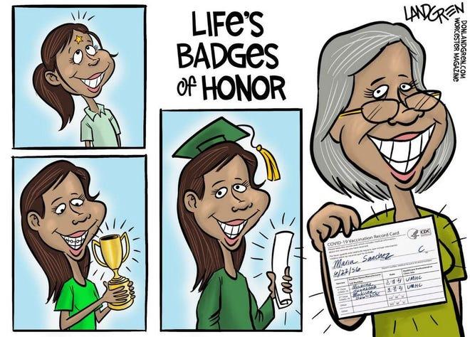 Landgren cartoon: Life's badges of honor. Don Landgren cartoon on badges of honor.