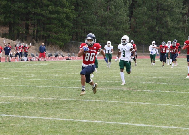 Football action against the Feather River Golden Eagles at College of the Siskiyous on Saturday, April 10 in Weed.