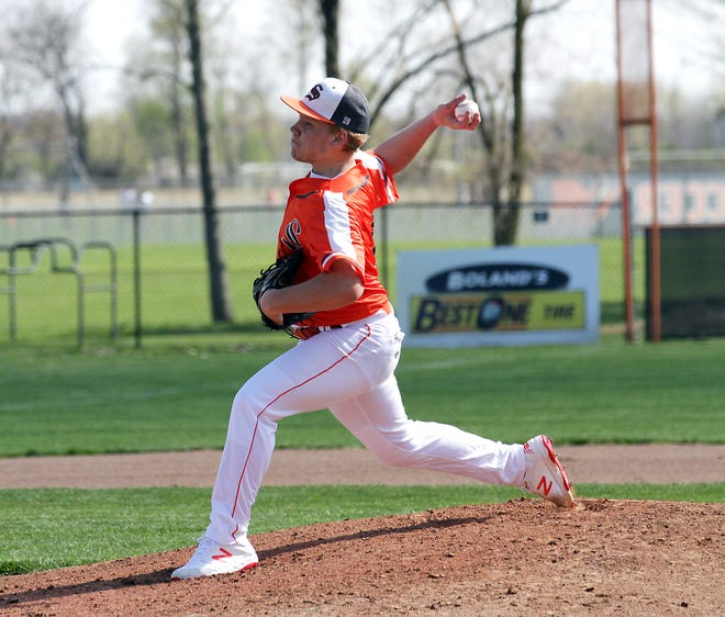 Brady Webb struck out 11 Harper Creek hitters in the first game for Sturgis on Tuesday.