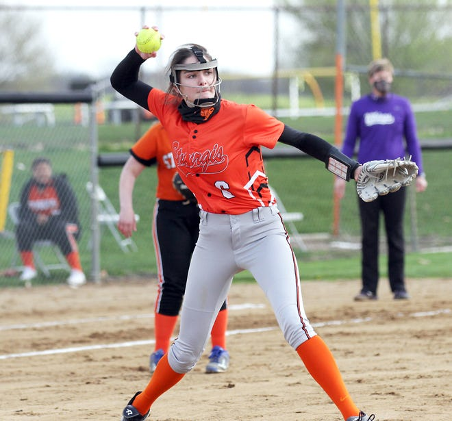 Sturgis' Kiley Weiderman fields and fires over to first base to record an out against Bronson on Monday afternoon.