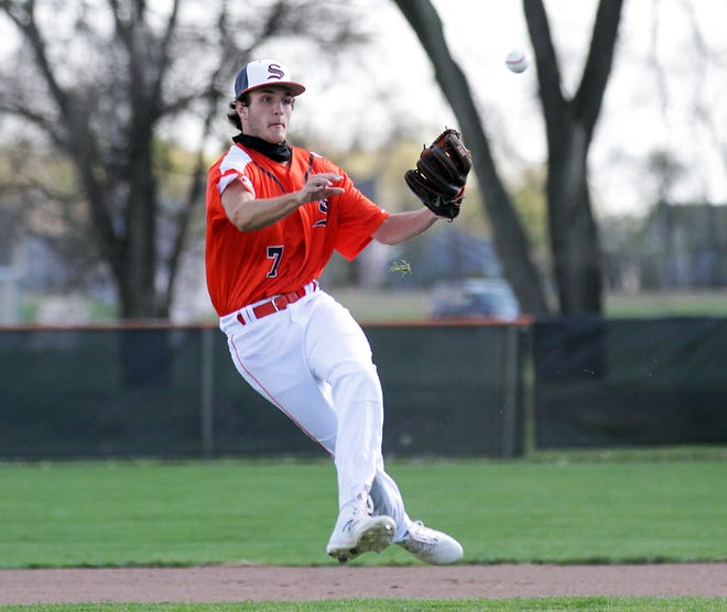 Sturgis shortstop Dalton Soergel fires over to first base to record an out against Harper Creek in the first game on Tuesday.