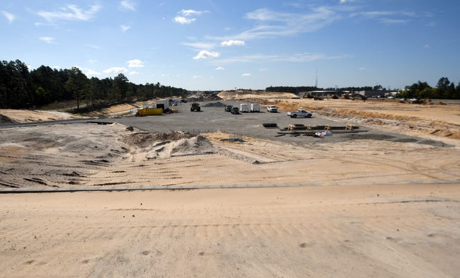 Construction is underway for a 425,000-square-foot industrial park called the Wilmington Trade Center just outside of Wilmington at 4220 U.S. 421, Tuesday, April 13, 2021. There are three buildings planned for the site, but Building 1 is scheduled to be the first to open in September.