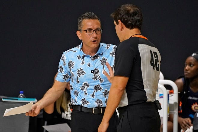 Connecticut Sun head coach Curt Miller talks to an official during a playoff game against the Los Angeles Sparks last season in Bradenton, Fla.