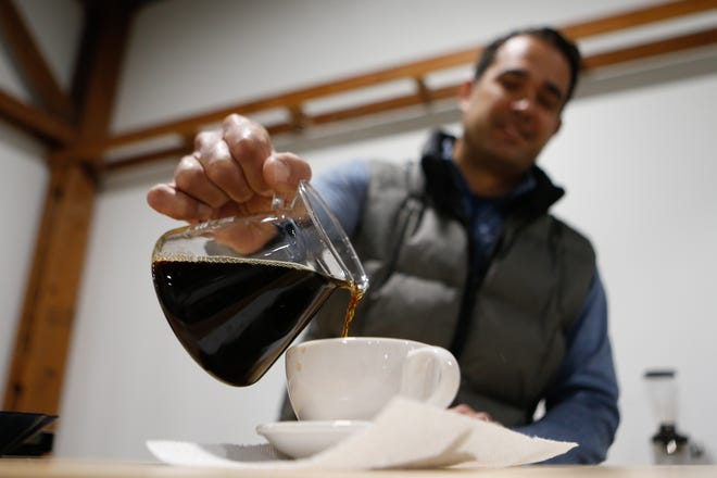 Having an experience of tasting coffee in Topeka will soon be possible for more than those trained at Blue Jazz Coffee Roasters. On Monday, Kevin Conard, owner of Blue Jazz Coffee Roasters, 6540 S.E. Johnston St., showed how he samples three selected varieties of their roasts.