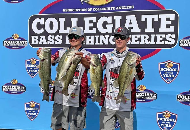From left, Drury's Brock Bila and Jack Rankin hold up their limit of bass for the day during the Association of Collegiate Anglers' Pickwick Slam bass fishing tournament, which ran April 10-11 in Florence, Ala.