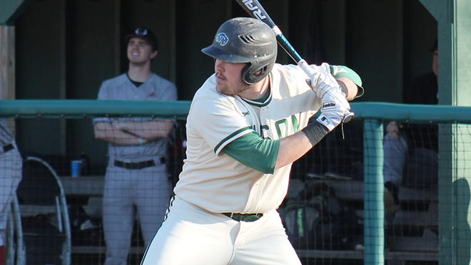 Graduate student Kyle Bouchard hit a three-run homer and drove in four runs to lead the Bison.
