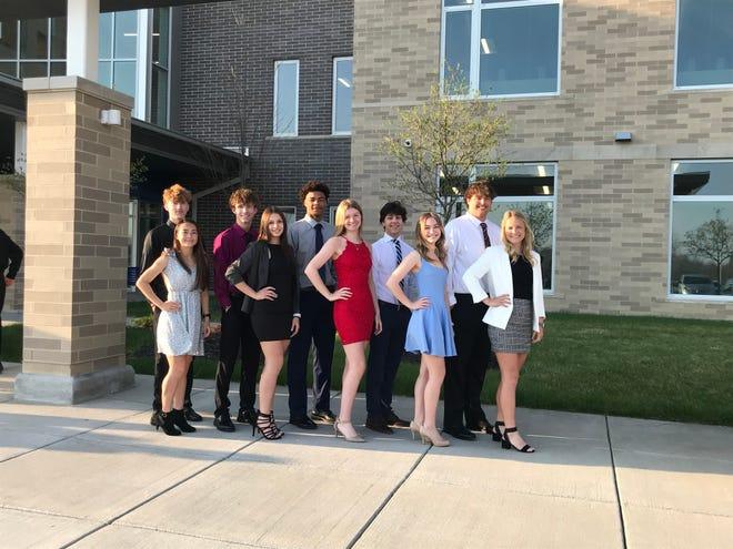 The senior prom court. Pictured, from left, Jacob Brown, Jasmine Arnold, Skylar Mazeroski, Becca Banks, Kobe Mitchell, Audrey Corder, Jack Novotny, Kate Crothers, Sam Santille and Abbi Kelley.