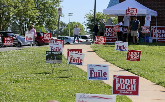 The Tuscaloosa City Council on Tuesday certified the results of the April 13 runoff elections for City Council in districts 1 and 6, where voters were pictured going into the Belk Activity Center precinct last week. [Staff File Photo/Gary Cosby Jr.]