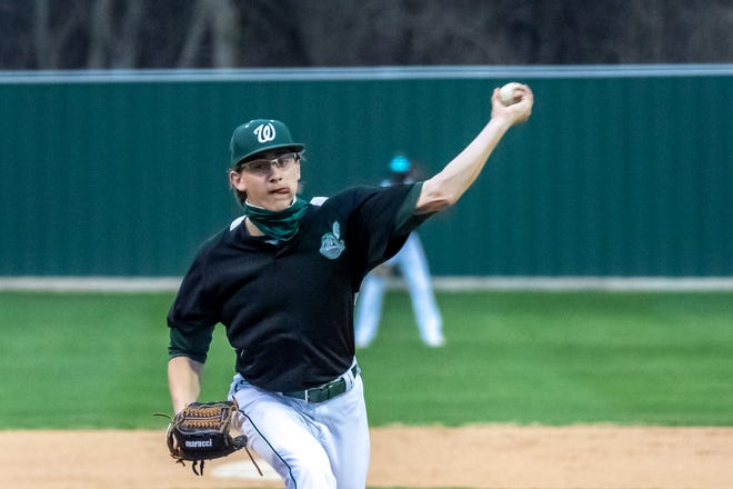 Waxahachie junior lefthander Jared Thomas pitches during a Dulin Memorial Tournament game at Richards Park. Thomas pitched a two-hit run-rule-shortened shutout as the Indians routed Cedar Hill on Saturday, 15-0.