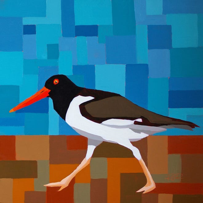Cynthia Reid's The Oystercatcher, on view at Addison Art Gallery, Orleans. See the Addision listing for a special Earth Day event.