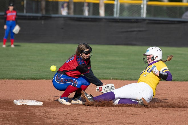 Unioto's Avery Miller slides into second base during a softball game against Zane Trace on April 12, 2021. Unioto defeated Zane Trace 12-2 in 5 innings.