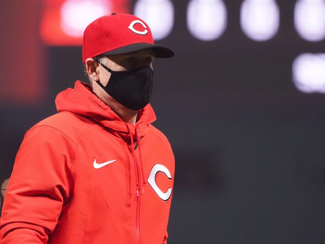 Reds manager David Bell argued with the umpires and was ejected in the sixth inning after a fastball by Cardinals starter Jack Flaherty hit Reds second baseman Jonathan India in the helmet.