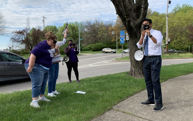 Hamilton County Clerk of Courts Aftab Pureval speaks at a press conference for Cincinnati State union workers on Tuesday, April 13, 2021.