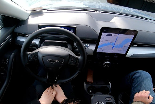Hands-free driving in a 2021 Ford Mustang Mach-E.
