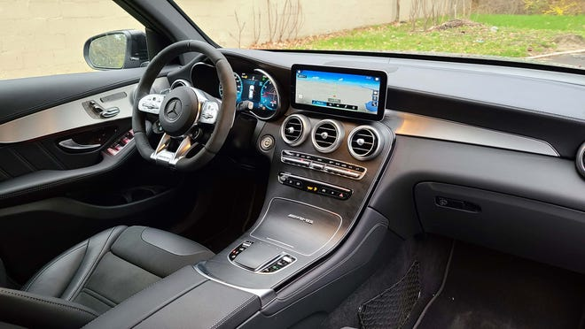 The 2020 Mercedes-AMG GLC 63interior is state of the art with stitched lather, excellent voice commands, signature design, and tech galore.