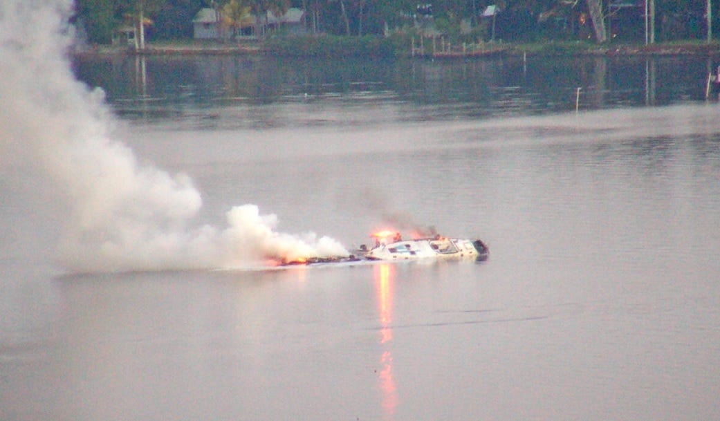 Fire on two boats on the Caloosahatchee River damages both; no injury reported 1