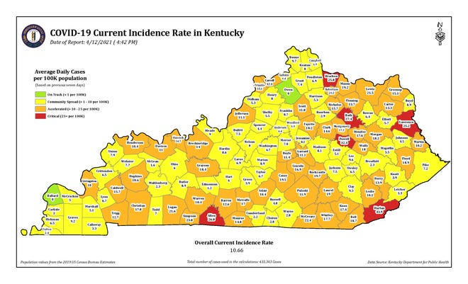 The COVID-19 current incidence rate map for Kentucky as of Monday, April 14.