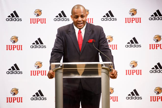 Matt Crenshaw speaks after being introduced as the new IUPUI men's basketball coach during a press conference at IUPUI on Tuesday, April 13, 2021.
