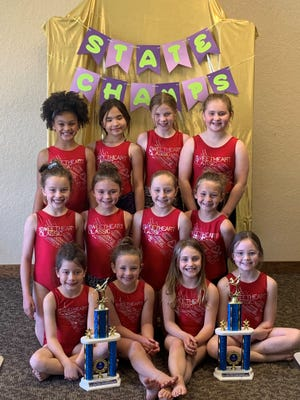 The Elite Gymnastic Club in Lafayette, Ind., recently earned 15 individual state titles at the Indiana State XCel Championship in Noblesville, including a team first place. The state title team is comprised of girls ages 7-10.