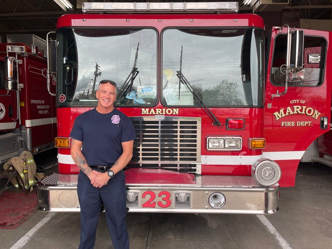 Ralph Wade of the Marion City Fire Department at one of his last shifts before heading into retirement on April 14, 2021.