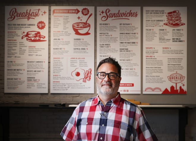 Owner Derk Meitzler of Backlot Sandwich Shop off Front Street downtown Tuesday, April 13, 2021.