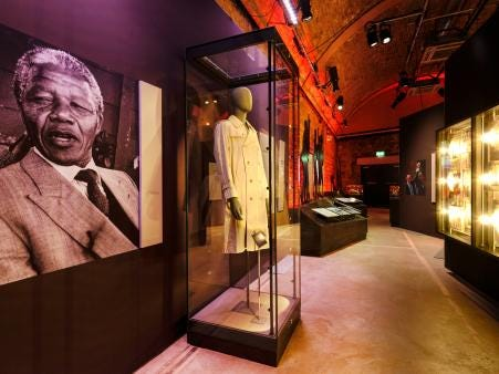 """""""Nelson Mandela: The Official Exhibition"""" includes several galleries, including one focused on the years leading up to Mandela's historic election to be the first Black South African president in 1994."""