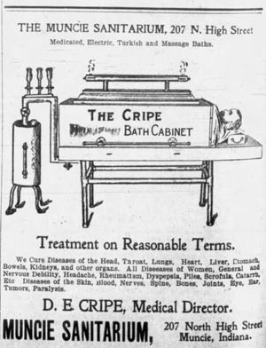 This ad for the Muncie Sanitarium appeared in The Muncie Morning News on Sept. 17, 1899.