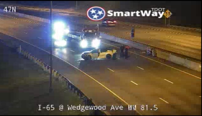 Interstate 65 northbound is closed at the Wedgewood exit after a single-vehicle wreck, according to the Tennessee Department of Transportation.
