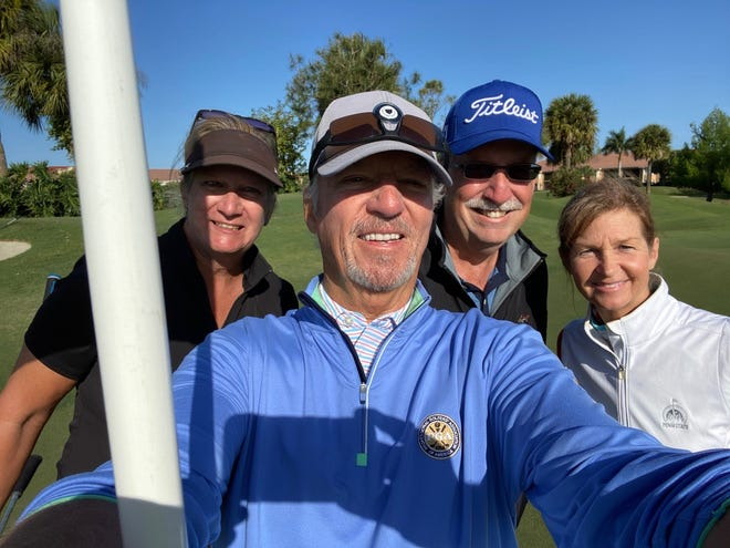 James Wolklin, center, poses with his group of Cheryl Wolklin, Bob Balser, and Catherine Balser after making a hole-in-one on Sunday, April 4, 2021, at Heritage Bay Golf & Country Club in Naples. Wolklin made three aces in five days in February, and has 12 in his career.